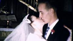 BIG KISS Wedding COUPLE Kissing Bride 1960s Vintage Film Home Movie 8729b Stock Footage