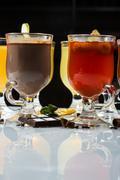 Mulled wine. fruit or berry drink. alcohol winter. against a dark background Stock Photos