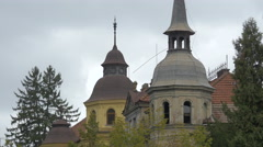 Two towers of old buildings in the city of Brasov Stock Footage