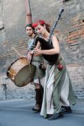 Medieval Street musician Stock Photos