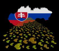 Slovakia map flag with euros foreground illustration - stock illustration