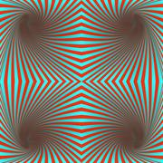 Seamless red and cyan hypnotic spiral pattern - stock illustration