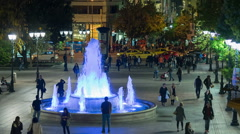 Time lapse of an ordinary night life at Sintagma Athens square  Greece. - stock footage
