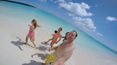 Video selfie of smiling carefree Caucasian family in swimwear Stock Footage
