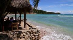 Beach side restaurant in Haiti Stock Footage