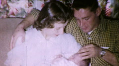 Young COUPLE Holding Newborn Baby One Day Old 1950s Vintage Film Home Movie 8731 Stock Footage