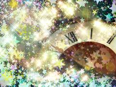 Eve of new year.Clock face and glowing shining stars. - stock illustration