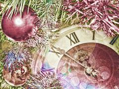 Stock Illustration of Eve of new year.Clock face and christmas balls.