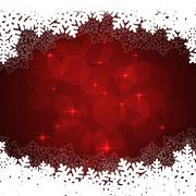snowflakes red background - stock illustration