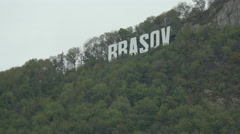 Beautiful view with Brasov city sign on top of Tampa mountain Stock Footage