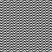 Seamless black and white wave pattern - stock illustration
