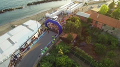 Overhead view of the start of the half marathon of Chiavari Stock Footage