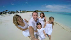 Caucasian family in white clothes filming video selfie Stock Footage