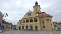 Old City Hall in Council Square, on a cloudy autumn day in Brasov Stock Footage