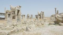 Persepolis ruins panoramic view Stock Footage