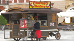 Food carriage in the Council Square, Brasov Stock Footage