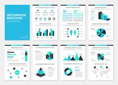 Blue and green business A4 brochures with infographic elements - stock illustration