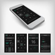Set of black smartphone mobile user aplication interface Stock Illustration