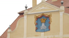 The coat of arms of Brasov on the facade of Old City Hall, Brasov Stock Footage