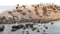 Mushroom rocks field at Yehliu Geological Park, general view in dusk Stock Footage