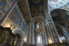 The interior with vaulted ceiling of Cathedral of St. Alexander Nevsky in Niz - stock photo