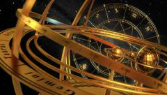 Armillary Sphere And Zodiac Signs. Black Background. Stock Footage