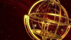 Armillary Sphere And Zodiac Signs. Red Background. Stock Footage