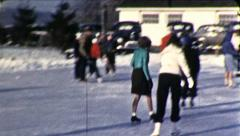 People ICE SKATING Winter Fun Sport 1940s Vintage Retro Film Home Movie 8735b Stock Footage