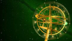 Armillary Sphere And Zodiac Signs. Green Background. Stock Footage