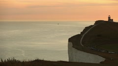 Panoramic view of Seven Sisters cliffs at sunset - stock footage