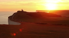 Panoramic view of Seven Sisters cliffs at sunset Stock Footage