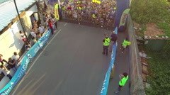 Athletes start the half marathon of Chiavari Stock Footage
