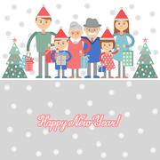 Vector illustration of  big family with shopping. - stock illustration