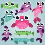 Cartoon sea fish set - stock illustration