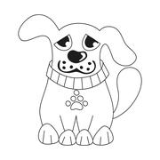 Cartoon puppy, coloring book page for children - stock illustration
