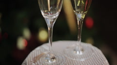 Two Champagne Glasses On Defocused Background Living Room With Christmas Tree Stock Footage