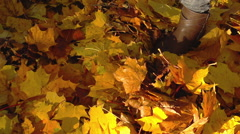 Woman walking on the ground full of leaves in the park, slow motion shot at 240f - stock footage