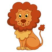 Curly cartoon lion with fluffy mane - stock illustration