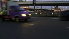 Aerial view of highway interchange in Moscow Stock Footage