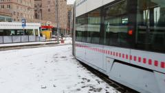 Modern high-speed tram rides around the city Moscow Stock Footage