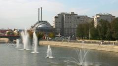 View of the Fountains Swamp area with Luzhkov bridge Stock Footage