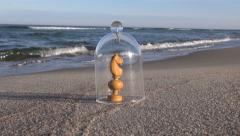 Chess piece under glass case on beach in the sand Stock Footage