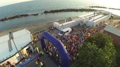 A view of the start of half marathon of Chiavari Stock Footage