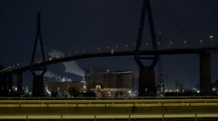 Stock Video Footage of Köhlbrandbrücke bei Nacht, Autobahn, Hamburg
