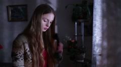 Beautiful Girl Calling Moonlight Lightning Stock Footage