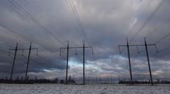 Electricity Pylon Wide Time Lapse - stock footage