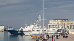 Complex of building of municipal marine port in Sochi timelapse Stock Footage