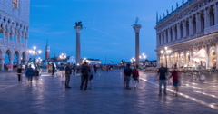 Night time lapse of Colonne di San Marco e San Todoro, Venice Stock Footage