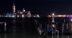 Night Time Lapse of San Giorgio Maggiore Church in Venice Stock Footage