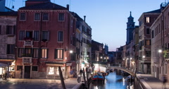Evening Time Lapse of Rio de S. Barnaba and Chiesa dei Carmini tower in Venice Stock Footage